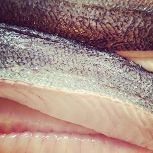 Dagens råvara västkustfiskad kummel, 45:-/port take away. Dagens husman, Frasigt anklår med rostad paprika, zucchini, citron och kapris. 85:-/115:-
