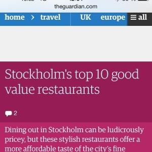 The Guardian har listat Lux Dag För Dag som en av Stockholms mest prisvärda restauranger, det är vi väldigt stolta över. #theguardian