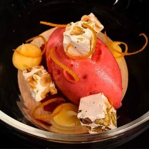 Ny dessert ikväll med blodapelsin, brynt smörkräm och montélimar?  #luxdagfördag #blodapelsin #dessert #sötfrisk