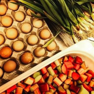 Ett smakprov av råvarorna inför #farmersdinner imorgon med bl.a. Pärlhönsägg, rabarber och vitlök👊 #luxdagfördag #stenhusegård #rosaskattlådan #storatollbygård